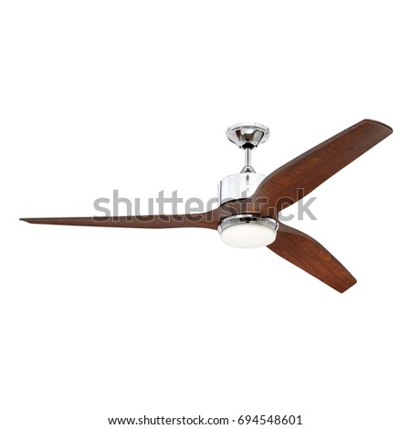 Ceiling fan isolated on white background stock photo 100 legal ceiling fan isolated on white background chrome ceiling fan with light and wooden blades in aloadofball Choice Image
