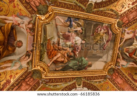 Ceiling fresco in the Vatican Museum Rome, Italy