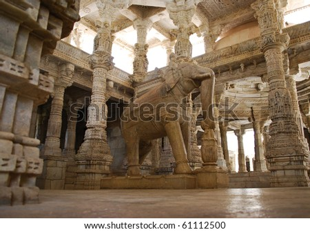 Ceiling in Ranakpur temple, Rajasthan - stock photo