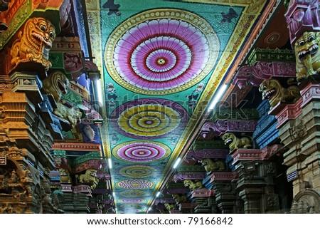 Ceiling Meenakshi Sundareswarar Temple in Madurai, South India - stock photo
