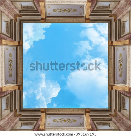 ceiling mural with patterns - stock photo