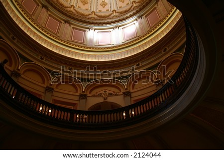 ceiling of dome of california capitol - stock photo