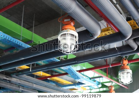 Ceiling of modern plant - stock photo