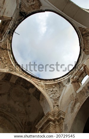 Ceiling of the Cathedral de Santiago destroyed by an earthquake, Antigua, Guatemala