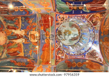 Ceiling of the Church of Transfiguration in Monastery of Saint Euthymius in Suzdal, Russia - stock photo