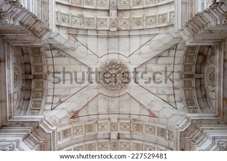 Ceiling of the Rua Augusta Arch in Lisbon, Portugal. - stock photo