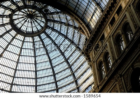 Ceiling of windows in Umberto's Way, Naples, Italy.