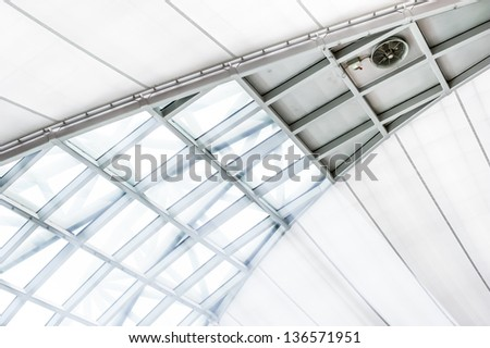 Ceiling windows with sunlight down trough