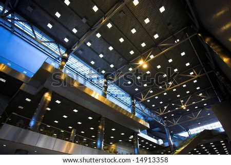 ceiling with lights in office centre - stock photo