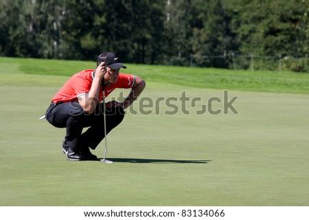 CELADNA, CZECH REPUBLIC - AUGUST 20: Winner  of PGA tournament Oliver Fisher (ENG) at the Czech Open, European Golf Tour, August 20, 2011, at the Celadna Prosper Golf resort, Celadna, Czech Republic - stock photo