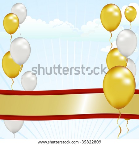 Celebrate a fun but formal event like a graduation, anniversary or grand opening with this ribbon and balloon sky. - stock photo