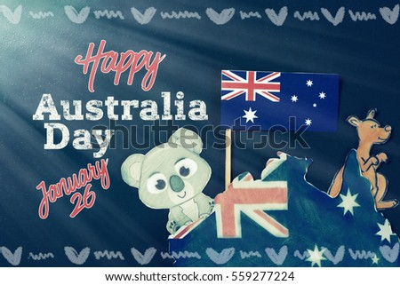 Celebrate australia day holiday on january 26 stock photo image celebrate australia day holiday on january 26 with a happy australia day message greeting written m4hsunfo