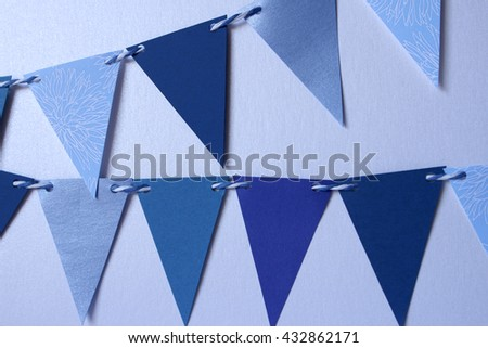 Celebrate banner. Party flags blue, black and white. - stock photo