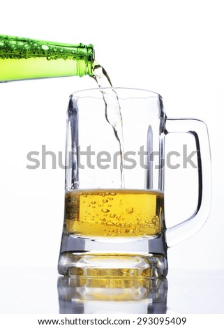 Celebrate beer days concept with step-1 pouring beer to a glass - stock photo