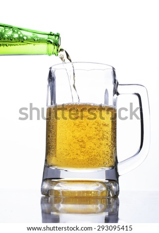 Celebrate beer days concept with step-2 pouring beer to a glass - stock photo