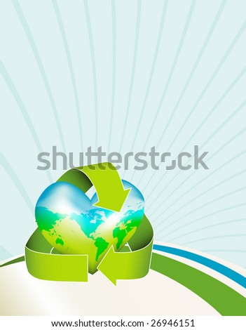 Celebrate Earth Day with this conceptual image. A globe shaped like a heart is encased in the recycling logo. Similar images in my portfolio. - stock photo