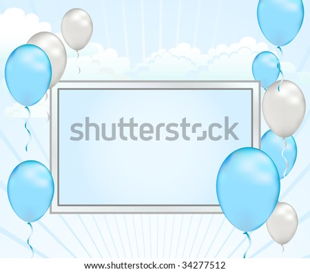 Celebrate good news with this pastel blue and silver baby shower announcement. This modern sky template can also be used for grand openings or silver anniversaries. - stock photo