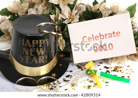 Celebrate New Year's 2010 - stock photo