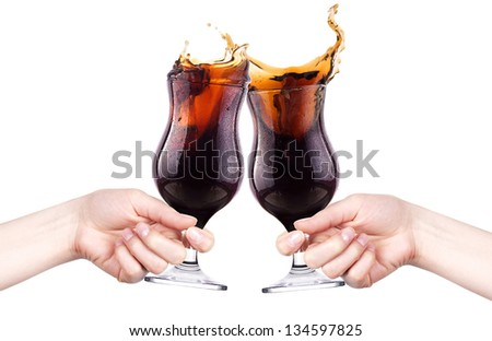 celebrate the holiday background - hands with cola making toast - stock photo