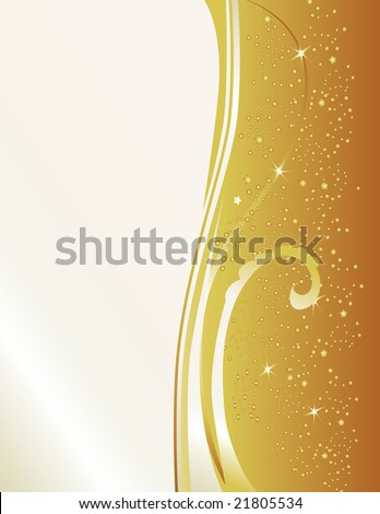 Celebrate with this gold & pearl new years inspired background. Features star bursts and a cascade of sparks. - stock photo