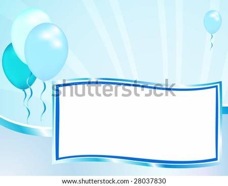 Celebrate your good news with this baby shower announcement template. Can also be used for grand openings or other festive occasions. - stock photo