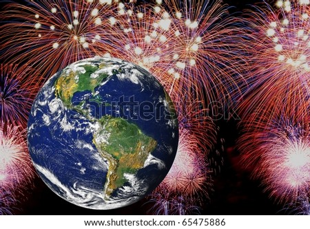 Celebrating a happy new year around the earth. High resolution earth image courtesy of NASA - stock photo