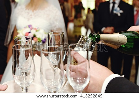 celebrating and toasting happy group of people with champagne at the  wedding reception - stock photo