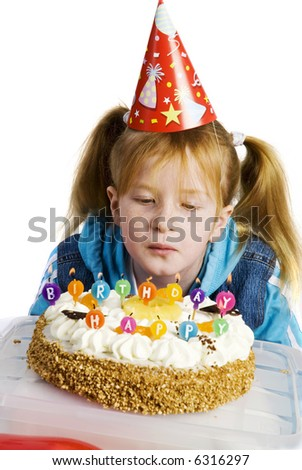 celebrating birthday with birthday cake with candles - stock photo
