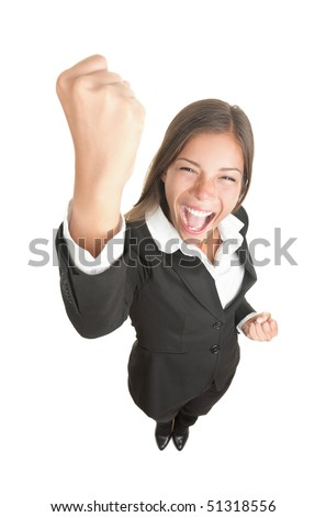 Celebrating cheering businesswoman isolated. Funny image of happy young business woman in full length. High angle view with near fisheye effect. isolated on white background. - stock photo