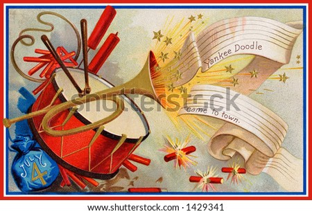 Celebrating July 4th, U.S.A. Independence Day. - a 1908 vintage illustration of fireworks, drumming and trumpeting ''Yankee Doodle came to town...'' - stock photo