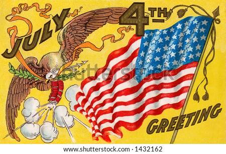 Celebrating July 4th, U.S.A. Independence Day. -  c. 1909 vintage illustration of fireworks, bald eagle and American flag - stock photo