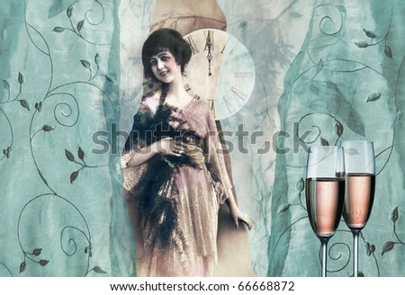 Celebrating of New Year in vintage style - stock photo