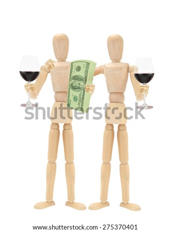 Celebrating Red Wine Mannequins Stack of US Currency one hundred dollar bills isolated on white background - stock photo