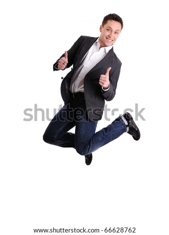 Celebrating success - Portrait of a excited male business executive jumping in air against isolated white background - stock photo