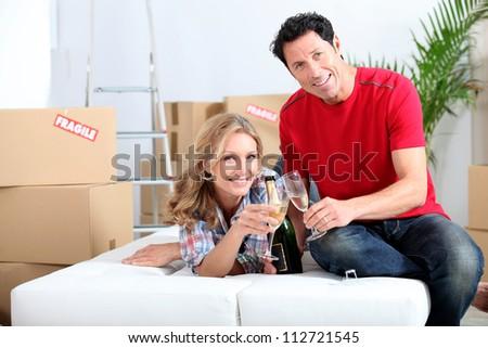 Celebrating the new house - stock photo