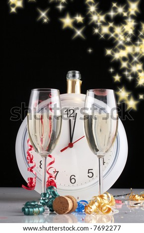 celebrating the New Year, Champagne bottle and full glasses on black glittering background