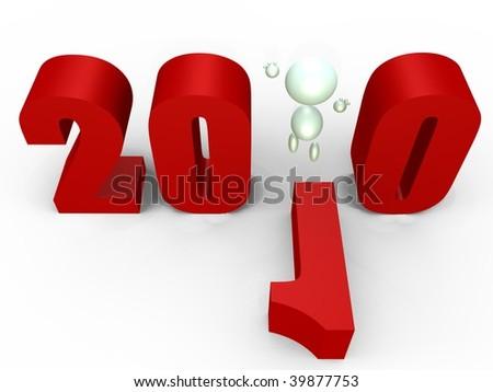 Celebrating the new year 2010 - 3D image - stock photo
