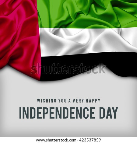 Celebrating UAE Independence Day. Abstract waving flag on gray background - stock photo