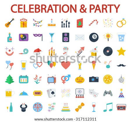 Celebration and Party icons set. Flat related icon set for web and mobile applications. It can be used as - logo, pictogram, icon, infographic element. Illustration.