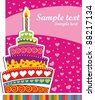 Celebration background with Birthday cake and place for your text.  illustration - stock vector