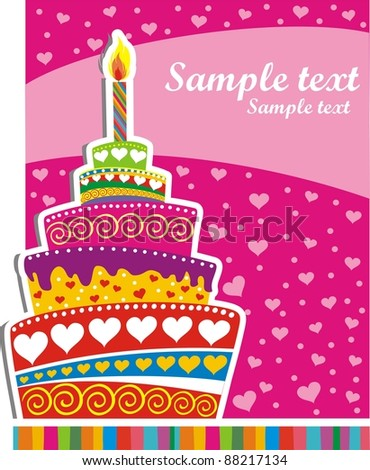 Celebration background with Birthday cake and place for your text.  illustration