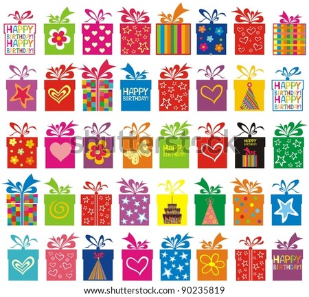 Celebration background with Birthday gift boxes. Seamless pattern.  illustration - stock photo