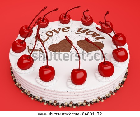 Celebration: cake with cherries over red background