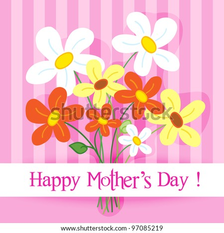 Celebration card: cute and fun hand drawn daisy flowers with shadow over a pink stripes background with Happy mother's day banner. - stock photo
