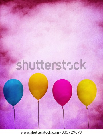 Celebration Card With Balloons  - stock photo