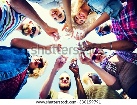 Celebration Champagne Looking Down Friends Concept - stock photo