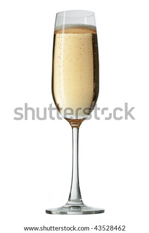 Celebration champagne on white background. The file includes a clipping path.  Professionally retouched high quality image. - stock photo