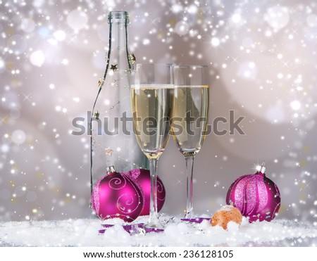 Celebration, champagne wine, two glasses  - stock photo