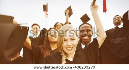 Celebration Education Graduation Student Success Learning Concept - stock photo