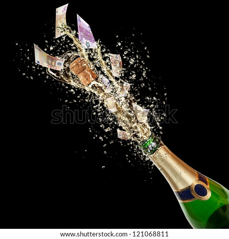 Celebration event with concept of Euro bank-notes splashing out of bottle. Isolated on black background - stock photo
